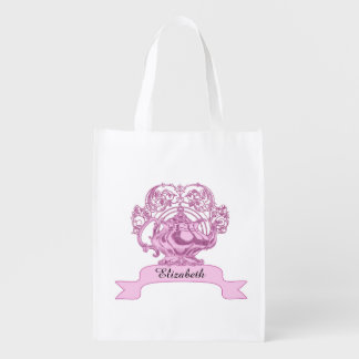 Vintage high tea PERSONALIZE name Grocery Bag