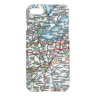 Vintage Highway Map Detroit, Cleveland, Columbus iPhone 8/7 Case