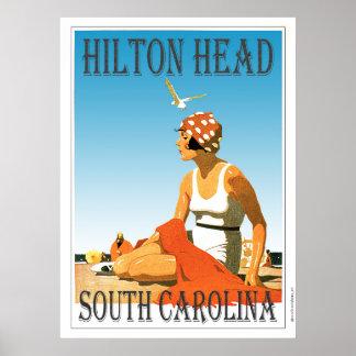 Vintage Hilton Head Beach Scene Poster