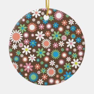 Vintage, hippie pink, green, salmon red daisies ceramic ornament