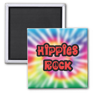 Vintage Hippies Rock Tie Dye Magnet