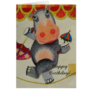 Vintage Hippo Birthday Card