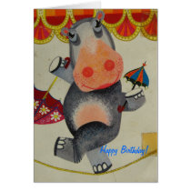 Vintage Hippo Birthday Card