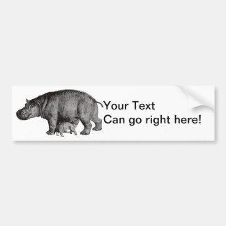 Vintage Hippo Bumper Sticker