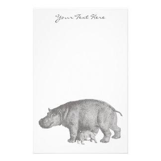 Vintage Hippo Stationery