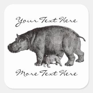 Vintage Hippo Stickers
