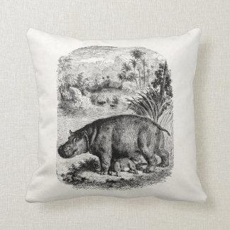 Vintage Hippopotamus Baby Personalized Retro Hippo Throw Pillow