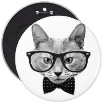 vintage, hipster, cat, funny, cool, geek, cute, retro, bow-tie, urban, nerd, fun, glasses, buttons, Button with custom graphic design