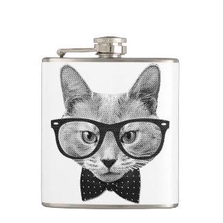 Vintage hipster cat flask