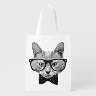 Vintage hipster cat grocery bag
