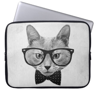 Vintage hipster cat laptop sleeve