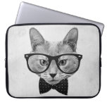 Vintage hipster cat laptop sleeves