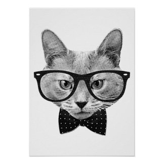 Vintage hipster cat poster