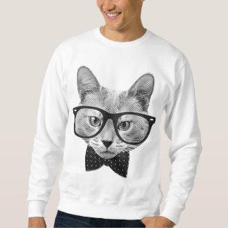 Vintage hipster cat pullover sweatshirt