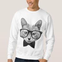 Vintage hipster cat sweatshirt