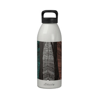 Vintage Hipster Feathers On Woodgrain Reusable Water Bottles