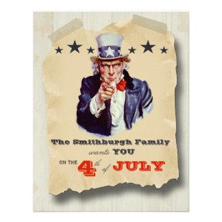 Vintage Hipster Fourth Of July Celebration Invite