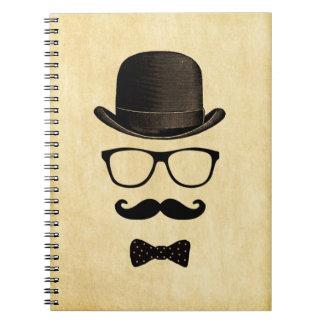 Vintage Hipster Moustache Man Spiral Notebooks