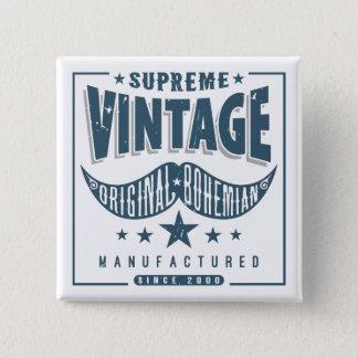 Vintage Hipster Mustache Pinback Button