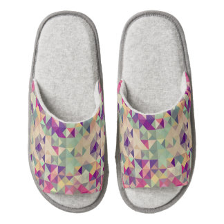 Vintage Hipsters Geometric Pattern. Pair Of Open Toe Slippers