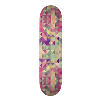 Vintage Hipsters Geometric Pattern. Skateboard
