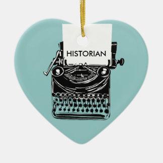 Vintage Historian Retro Typewriter Illustration Ceramic Ornament