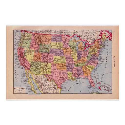 VIntage historic 1920United States of America Poster