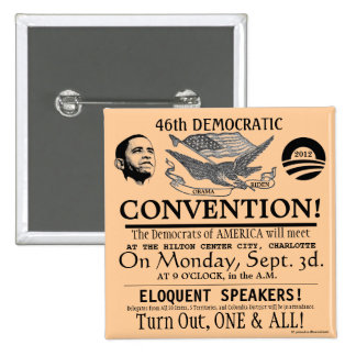 Vintage Historic Broadside Democratic Convention C Pinback Buttons