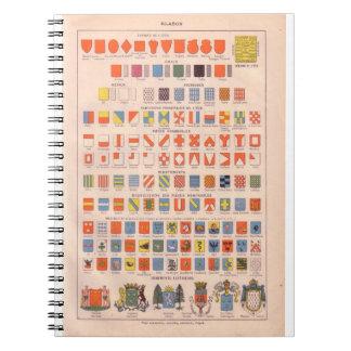 Vintage historic  crests and badges spiral notebooks