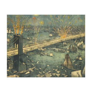 Vintage Historic New York Brooklyn Bridge Opening Canvas Print