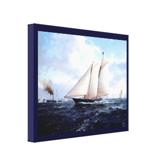 Vintage Historic Racing yachts off Portsmouth Canvas Print