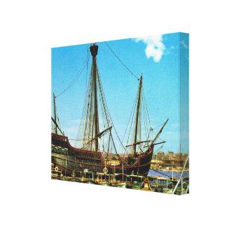 Vintage Historic ships, Caravel Santa Maria Canvas Print