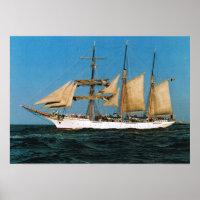 Vintage historic ships, Mercator, Belgium Poster