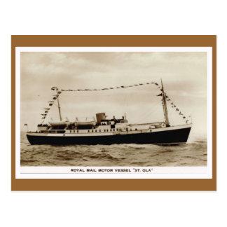 "Vintage historic ships,  Royal Mail ""St Ola"" Postcard"