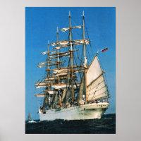 Vintage historic ships, Sedov, Russia Poster