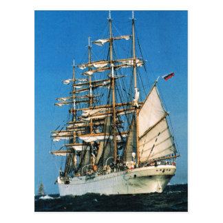 Vintage historic ships, Sedov, Russian Postcard