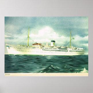 "Vintage historic ships, ""SS Saga"" Swedish Lloyd Poster"