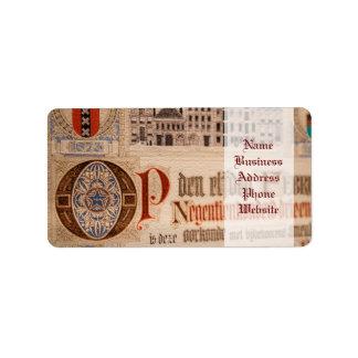 Vintage histórico del certificado de la antigüedad etiqueta de dirección