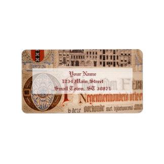 Vintage histórico del certificado de la antigüedad etiquetas de dirección