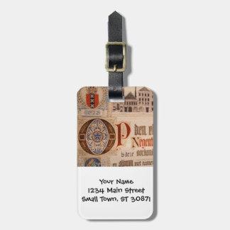 Vintage histórico del certificado de la antigüedad etiquetas maleta