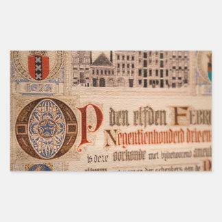 Vintage histórico del certificado de la antigüedad pegatina rectangular