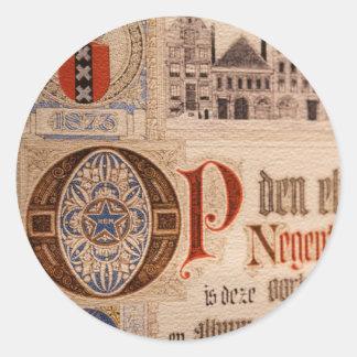 Vintage histórico del certificado de la antigüedad pegatina redonda