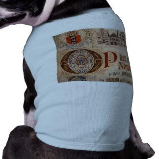 Vintage histórico del certificado de la antigüedad playera sin mangas para perro