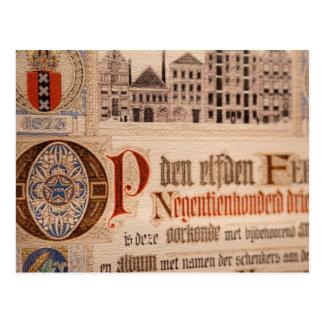 Vintage histórico del certificado de la antigüedad postales