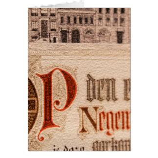 Vintage histórico del certificado de la antigüedad tarjeta de felicitación