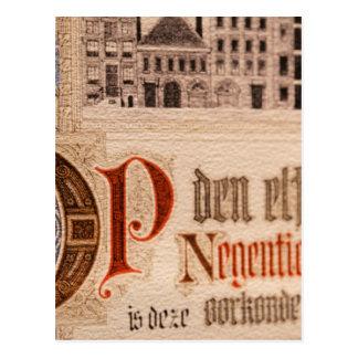 Vintage histórico del certificado de la antigüedad tarjeta postal