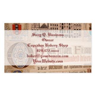 Vintage histórico del certificado de la antigüedad tarjetas de visita