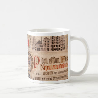 Vintage histórico del certificado de la antigüedad taza clásica