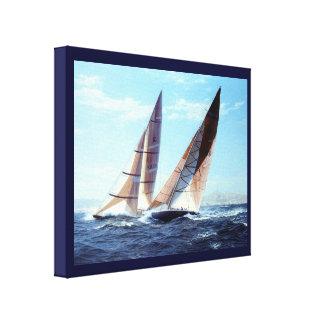 Vintage HistoricYacht racing in high seas Canvas Prints