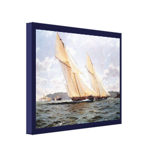 Vintage HistoricYacht racing off Cowes Gallery Wrapped Canvas